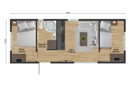 "New mobile home ""Masuria"" for sale, 31.5 m². Sizes: 9 × 3.5 m. Area: 31.5 m². Rooms: 3. Sleeping places: 6. #7"
