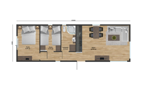 "New mobile home ""Macedonia"" for sale, 48 m². Sizes: 12 × 4 m. Area: 48 m². Rooms: 3. Sleeping places: 6. #2"