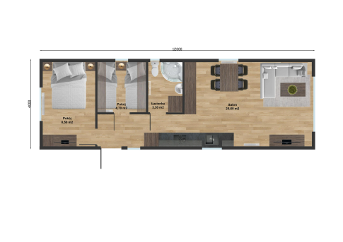 "New mobile home ""Bordeaux"" for sale, 48 m². Sizes: 12 × 4 m. Area: 48 m². Rooms: 3. Sleeping places: 6. #4"