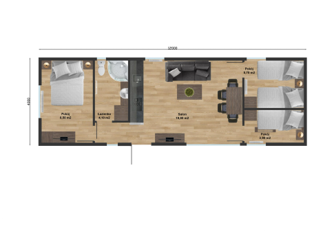 "New mobile home ""Lisbon"" for sale 48, m². Sizes: 12 × 4 m. Area: 48 m². Rooms: 4. Sleeping places: 8. #3"