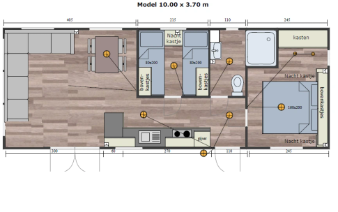 "New mobile home ""Brittany"" for sale, 37 m². Sizes: 10 × 3.9 m. Area: 39 m². Rooms: 3. Sleeping places: 6. #8"