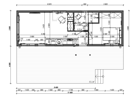 "New mobile home ""Tuscany"" for sale, 42.55 m². Sizes: 11.5 × 3.9 m. Area: 44.85 m². Rooms: 2. Sleeping places: 4. #3"