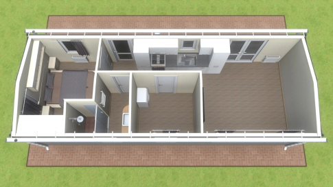 "New mobile home ""Silesia"" for sale, 42.55 m². Sizes: 11.5 × 3.9 m. Area: 44.85 m². Rooms: 2. Sleeping places: 4. #2"